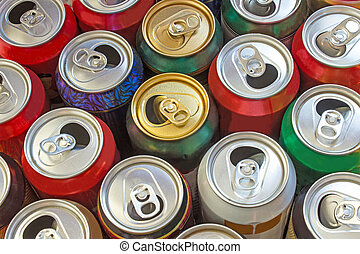 Beer cans as background