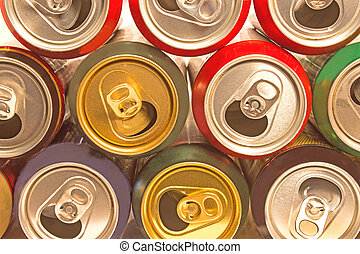 Beer cans as background ? top view