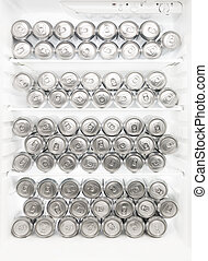 Beer cans in the refrigerator