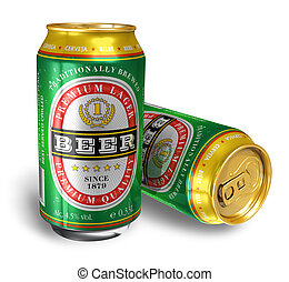 Beer cans isolated on white background *** I confirm that ...
