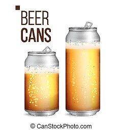 Beer Cans Vector. 500 and 330 ml Can Blank. Beer Background...