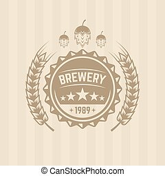 Beer cap and wheat single vector colored label
