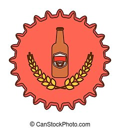beer cap emblem icon image