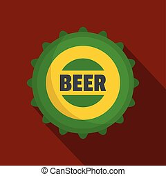 Beer cap icon, flat style.