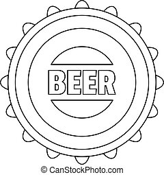 Beer cap icon, outline style.