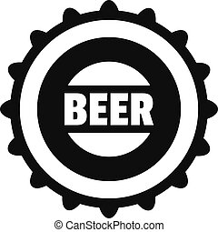Beer cap icon, simple style.