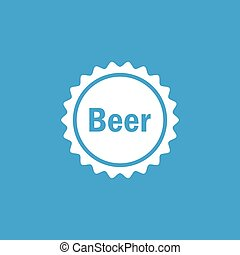 Beer cap icon, white