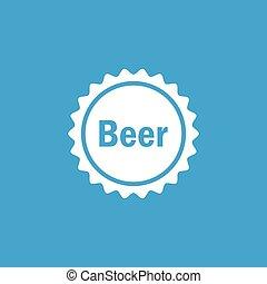 Beer cap icon, white