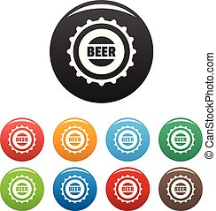 Beer cap icons set color vector