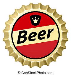 Beer cap - Red beer cap. Illustration of designer on white...