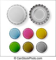 Beer Cap Vector. Colorful Bottle Caps. Mock Up Temaplate
