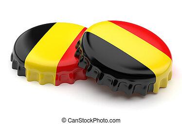 Beer caps - Belgian crown beer caps on a white background