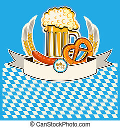 Beer card.Vector Bavaria background for text