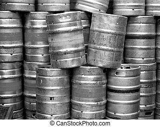 Beer casks - Range of stacked beer casks of kegs