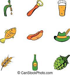 Beer celebration icons set, cartoon style