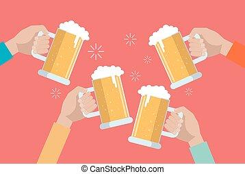 Beer clinking hands.