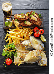 beer, cold smoked fish and french fries