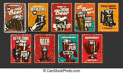 Beer Collection Advertising Poster Set Vector