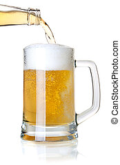 Beer is pouring into a glass from bottle