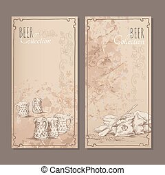 Beer collection cards for the restaurant menu