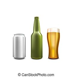 Beer collection set object on the white background.