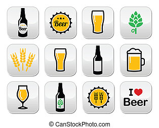 Beer colorful vector buttons set -