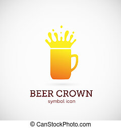 Beer Crown Vector Concept Symbol Icon or Logo Template