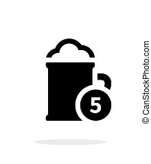 Beer cup with number simple icon on white background.
