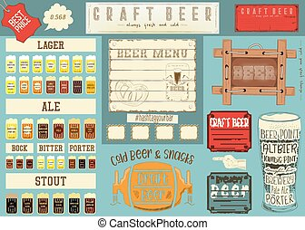 Beer Placemat - Beer Drawn Menu Design. Color Beer Placemat...
