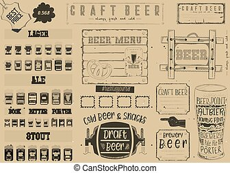 Beer Placemat - Beer Drawn Menu Design. Craft Beer Placemat...