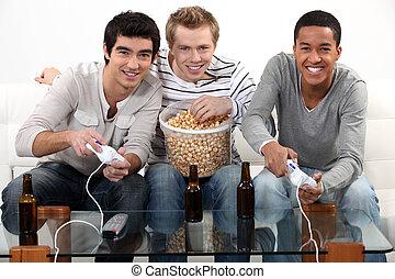 beer., drei, während, spiele, video, trinken, friends, spielende