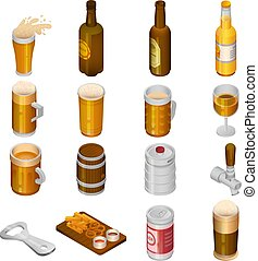 Beer drink icon set, isometric style