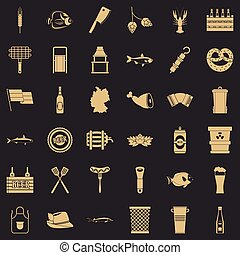 Beer drink icons set, simple style