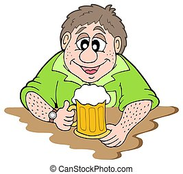 Beer drinker on white background - isolated illustration.