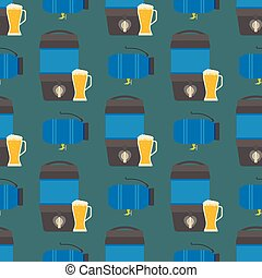 Beer drums container fuel cask storage rows steel barrels capacity tanks natural metal bowels seamless pattern background vessel vector illustration