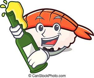 Beer ebi sushi mascot cartoon