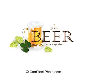 Beer emblem, logo, label design with mug and hops