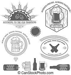 Beer emblems, labels and design elements.