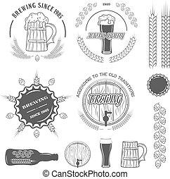 Beer emblems , labels and design elements.