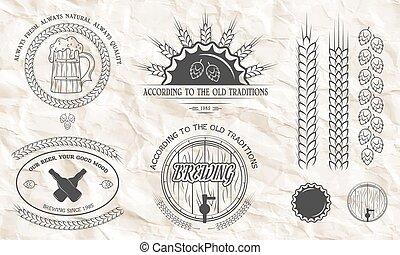Beer emblems, labels, badges.