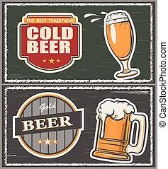 Beer - Vector illustration a glass of beer, emblem, logo