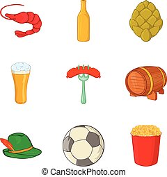 Beer evening icons set, cartoon style - Beer evening icons...