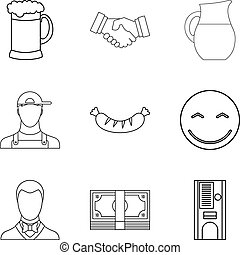 Beer evening icons set, outline style - Beer evening icons...