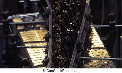 Beer factory lining up bottles