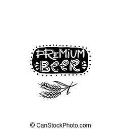 Beer fest illustration Premium beer sign and wheat spikelets