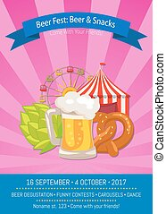 Beer Fest Poster with Snacks Vector Illustration
