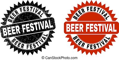 BEER FESTIVAL Black Rosette Stamp Seal with Distress Style