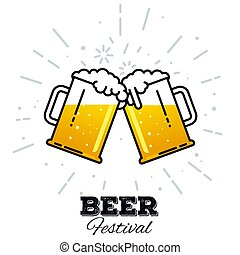Beer festival icon - Two gig glasses with fresh yellow live...