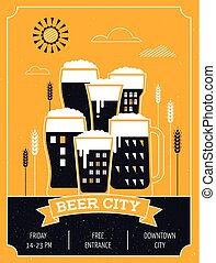 Beer festival in the city, event poster