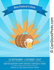 Beer Festival is Here Vector Illustration on Blue - Beer...